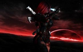 Картинка звезды, оружие, кровь, планета, Девушка, костюм