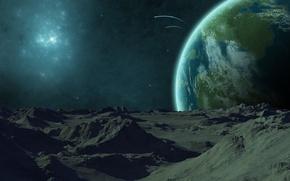 Картинка горы, звезда, Планета, комета