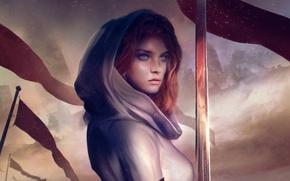 Картинка девушка, city, город, дым, меч, флаг, капюшон, battlefield, girl, sword, рыцарь, smoke, поле боя, знамя, …