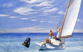 Картинка Ground Swell, картина, лодка, яхта, Эдвард Хоппер, люди, море, морской пейзаж, парус