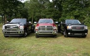 Картинка деревья, фон, Ford, Форд, Додж, джип, Dodge, пикап, передок, and, GMC, Ram, Denali, Super Duty, …