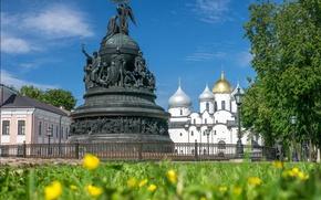 Обои храм, Россия, Великий Новгород, монумент, Софийский собор, Памятник Тысячелетие России