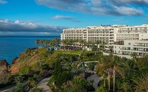 Картинка море, пальмы, берег, здание, отель, Португалия, Madeira, Funchal