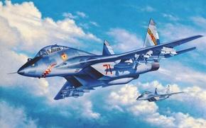 Картинка war, art, painting, jet, Mig 29UB