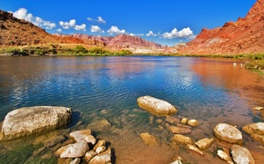Картинка река, скалы, Колорадо, останцы, Colorado river and cliffs blue sky