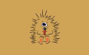 Картинка яблоко, минимализм, колючки, ежик, hedgehog