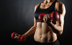 Картинка women, workout, fitness, dumbbell