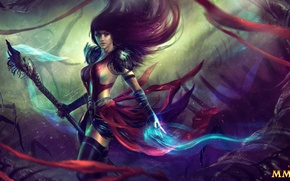 Картинка красота, арт, маг, Guild Wars 2, некромант, волосы, Necromancer, девушка, посох