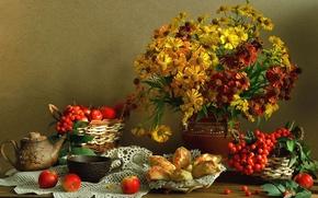 Картинка цветы, ягоды, яблоки, чайник, чашка, натюрморт, пирожки