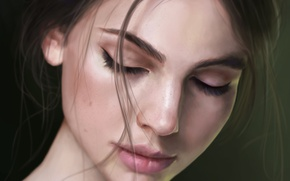 Картинка девушка, лицо, фон, волосы, арт, веснушки