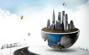 Обои дорога, облака, ростки, воздушные шары, креатив, планета, дома, радуга, самолёт
