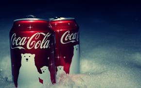 Обои coca-cola, Кока-кола, баночка, снег