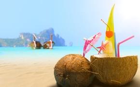 Картинка песок, море, пляж, кокос, коктейль, напиток, beach, sea, sand, drink, cocktail, coconut