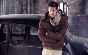 Картинка машина, взгляд, куртка, мужчина, парень