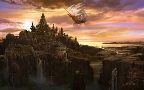 Обои облака, мост, город, замок, корабль, башня, водопад, арт, паруса, ucchiey, kazamasa uchio, летучий