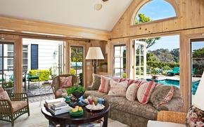 Картинка природа, дом, стол, комната, обои, вилла, книги, лампа, интерьер, кресло, подушки, вентилятор, бассейн, wallpaper, фрукты, …