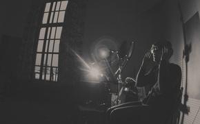 Картинка окно, мужчина, музыкант