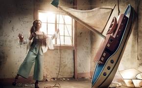 Обои Robert Ascroft, модель, актриса, кораблик, VVV, Элисон Бри, Alison Brie