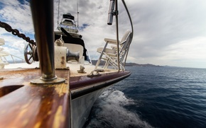 Картинка sea, ocean, water, bokeh, yacht, seats, mast