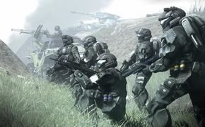 Картинка туман, броня, odst, halo, фантастика, солдаты, доспех