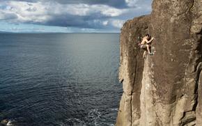 Картинка море, скала, Новая Зеландия, экстрим, скалолаз, New Zealand, Северный остров, North Island, James Field-Mitchell