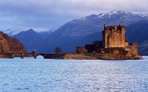 Картинка небо, вода, облака, горы, Шотландия, Замок, Эйлен-Донан