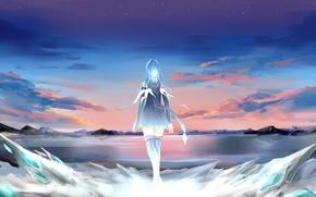 Обои небо, девушка, облака, закат, аниме, арт