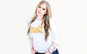 Картинка Музыка, Avril Lavigne, Певица, Белый Фон