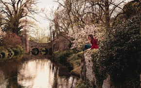 Картинка girl, river, trees, bridge, flowers, reflection, branches, canal