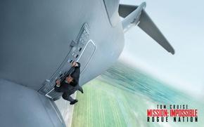 Обои Tom Cruise, постер, Том Круз, ситуация, взлет, самолет, Ethan Hunt, Mission: Impossible - Rogue Nation, ...
