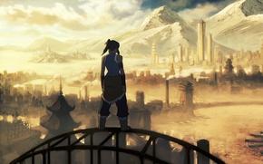 Обои легенда об Корре, мультсериал, горы, аватар, река, город