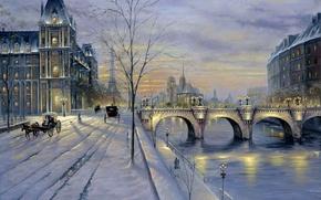 Картинка зима, снег, закат, улица, Париж, картина, Paris, Finale