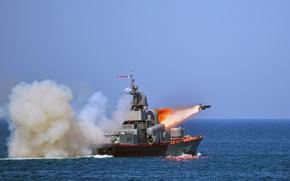 Картинка корабль, Молния, ВМФ, ракетный, стрельбы, пуск ракеты