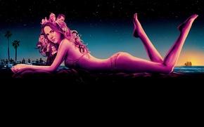 Обои Inherent Vice, полиция, купальник, небо, лежит, звезды, на берегу, ночь, девушка, море, фильм, фигура, арт, ...