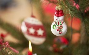 Картинка праздник, игрушки, новый год, снеговик, ёлка, декорации, happy new year, christmas decoration, новогодние обои, christmas …