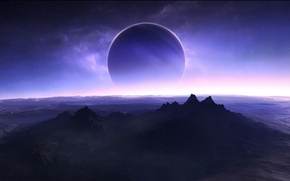 Картинка звезды, спутник, поверхность планеты