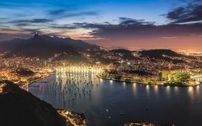 Картинка небо, облака, закат, город, огни, вид, бухта, вечер, освещение, панорама, залив, Бразилия, Рио-де-Жанейро, гуанабара