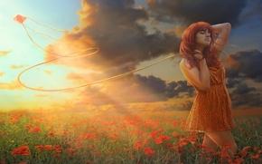 Картинка поле, девушка, цветы, воздушный змей