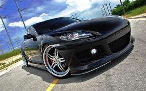 Обои дорога, небо, чёрный, фара, Mazda, диски, передок, мазда, лэп, RX-8
