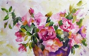 Картинка цветы, акварель, живопись