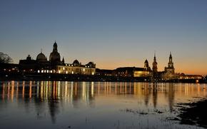 Картинка огни, река, дома, вечер, Германия, Дрезден