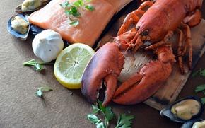 Картинка лимон, еда, рыба, доска, петрушка, кусок, морепродукты, чеснок, мидии, лобстер