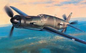 Картинка war, art, airplane, painting, aviation, jet, ww2, Dornier Do 335