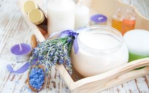 Картинка свечи, крем, лаванда, cream, lavender, candles, морская соль, цветы лаванды, sea salt, the flowers of …