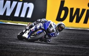 Картинка Спорт, Поворот, Гонка, Мотоцикл, Мото, Yamaha, MotoGP, Ямаха, YZR M1