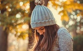 Обои осень, девушка, шапка, боке