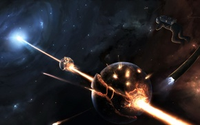 Картинка звезды, планета, луч, Космонавт