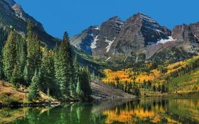 Обои камни, озеро, горы, деревья, скалы, осень, лес