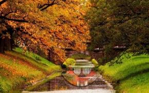 Картинка парк, горы, leaves, fall, листья, colors, вода, trees, walk, осень, река, лес, park, forest, nature ...