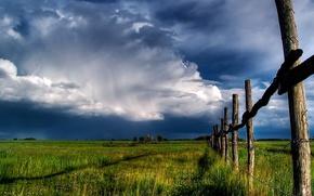 Обои забор, небо, поле